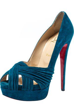 Christian Louboutin Turquoise Suede Aborina Platform Pumps Size 39.5