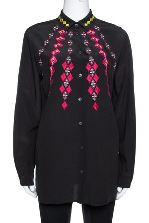 Etro Black Silk Crepe de Chine Embroidered Long Sleeve Shirt M