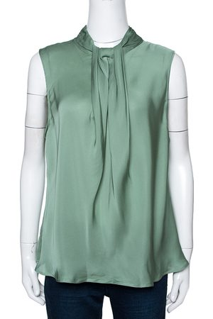 Armani Pale Green Silk Draped Sleeveless Blouse XL