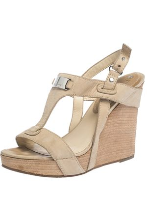 Céline Céline Beige Leather T-Strap Wedge Platform Slingback Sandals Size 37.5