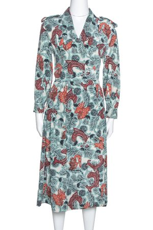Burberry Pale Blue Printed Silk Long Sleeve Wrap Dress M