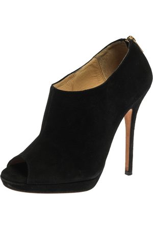 Jimmy Choo Black Suede Glint Peep Toe Ankle Booties Size 37