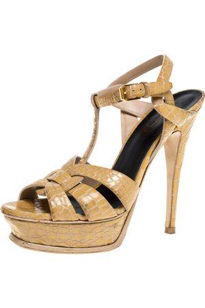 Saint Laurent Saint Laurent Beige Croc Embossed Leather Tribute Platform Sandals Size 38
