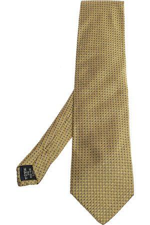VERSACE Vintage Yellow Geometric Pattern Silk Jacquard Tie