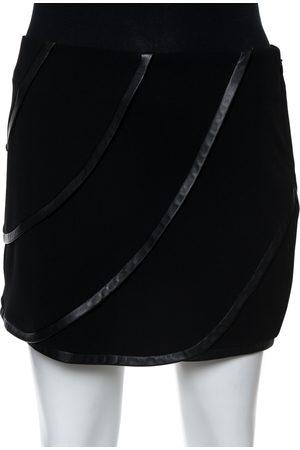 Diane von Furstenberg Black Silk and Leather Trim Karina Mini Skirt S