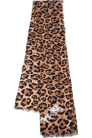 Coach Brown Wild Beast Print Modal Shawl