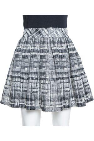 ALICE+OLIVIA Monochrome Textured Lurex Wool Pleated Mini Skirt S