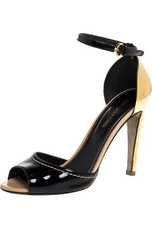 Sergio Rossi Black Patent Leather Metal Heel Ankle Strap Sandals Size 36