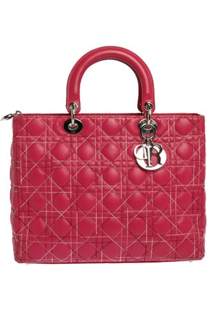Dior Pink Cannage Stitched Leather Large Lady Tote