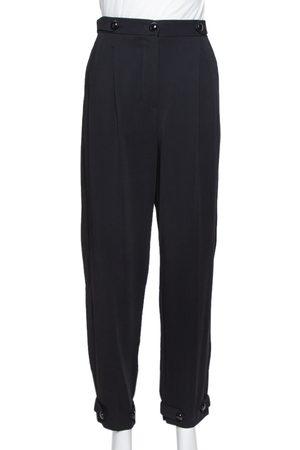 Emporio Armani Black Double Pence Button Detail High Waist Trousers M