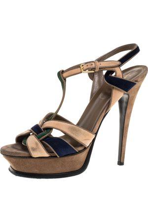 Saint Laurent Tricolor Suede Tribute Platform Sandals Size 39