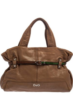 DandG D&G Brown Leather With Green Patent Strap Bag Isotta Tote