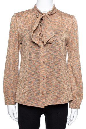 M Missoni Rust Orange Lurex Wool Knit Tie Neck Blouse L