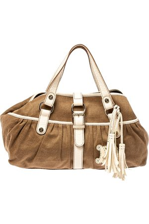 Céline Brown/Beige Canvas and Leather Boogie Tote