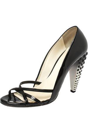 Miu Miu Black Patent Leather Crystal Embellished Heel Sandals Size 39