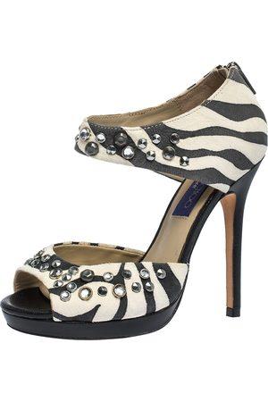 Jimmy Choo For H&M Monochrome Zebra Print Suede Studded Platform Sandals Size 37