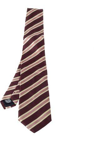 HUGO BOSS Burgundy Striped Silk Tie