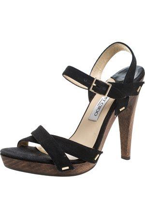 Jimmy Choo Black Canvas Cross Strap Wooden Ankle Strap Platform Sandals Size 40