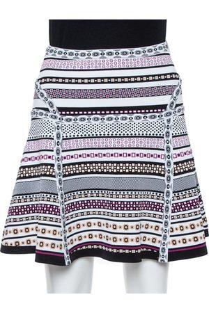 Diane von Furstenberg White Banded Dot Knit Flote Skirt S