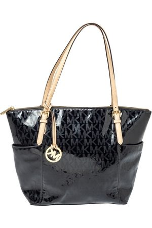 Michael Kors Black Signature Mirror PVC and Leather East West Zip Tote