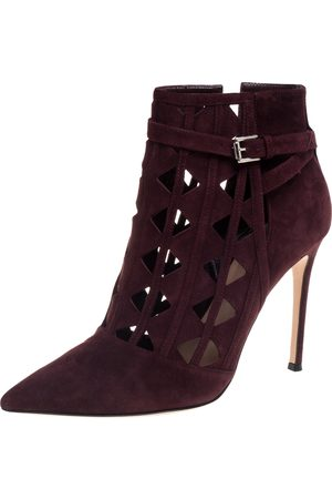Gianvito Rossi Burgundy Suede Diamond Cut Out Ankle Boots Size 39.5