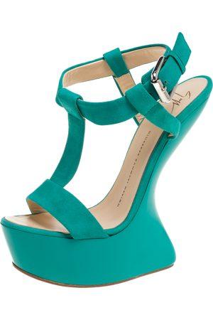 Giuseppe Zanotti Turquoise Blue Suede T Strap Platform Heel Less Wedge Sandals Size 38