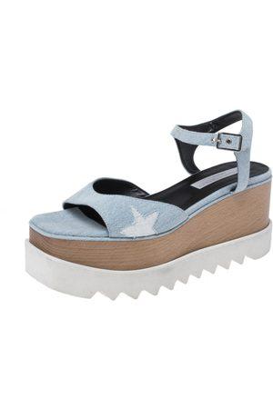 Stella McCartney Blue Wash Denim Elyse Platform Ankle Strap Sandals Size 40
