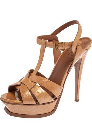 Saint Laurent Saint Laurent Beige Patent Textured Leather Tribute Platform Sandals Size 39