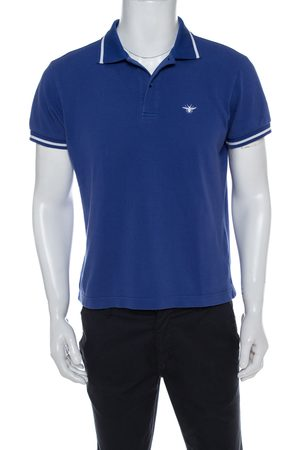 Dior Blue Cotton Pique Polo T Shirt L