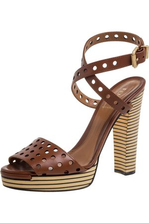 Fendi Brown Perforated Ankle Strap Platform Sandals Size 38