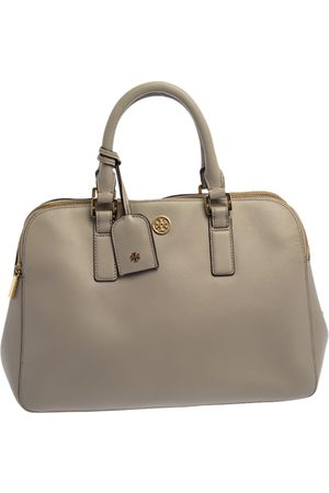 Tory Burch Taupe Leather Robinson Double Zip Dome Satchel