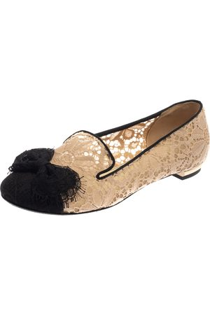 CHANEL Beige/Black Lace Bow CC Smoking Slippers Size 38.5