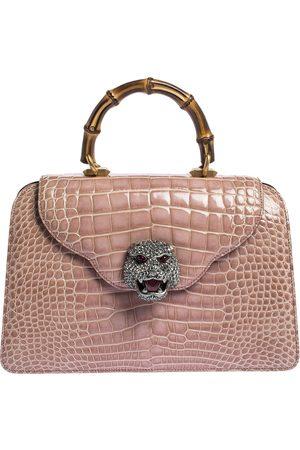 Gucci Pink Shine Crocodile Medium Thiara Bamboo Top Handle Bag