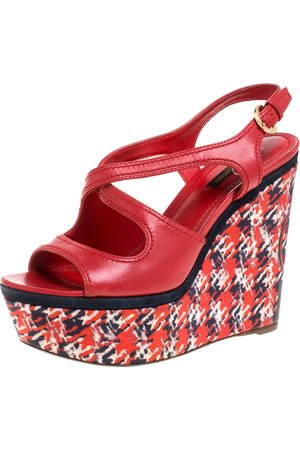 LOUIS VUITTON Red Leather And Multicolor Fabric Wedge Criss Cross Platform Slingback Sandals Size 37