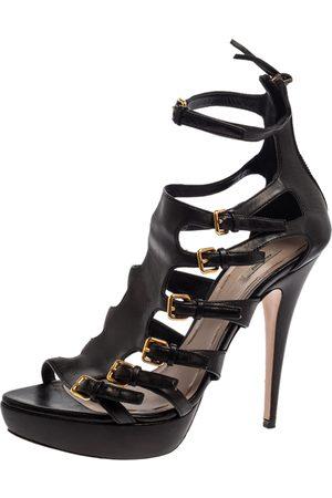 Miu Miu Black Leather Multi Strap Platform Sandals Size 40.5