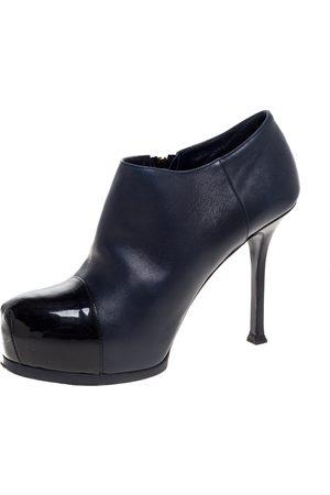 Saint Laurent Blue/Black Leather Tribtoo Ankle Booties Size 37