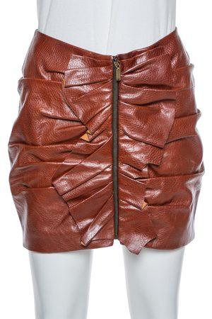 Saint Laurent Saint Laurent Brown Leather Ruffle Detail Zip Front Mini Skirt S