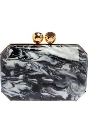 Stella McCartney Black/White Marble Plexiglass Lucia Clutch