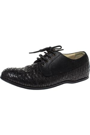 Dolce & Gabbana Black Woven Leather And Suede Lace Up Derby Size 42