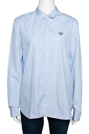 Kenzo Blue Tiger Embroidered Striped Cotton Long Sleeve Shirt L