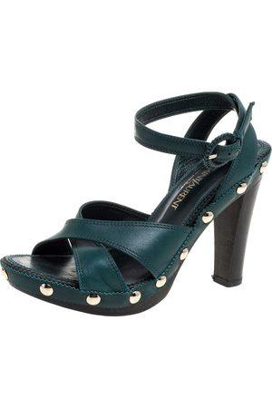 Saint Laurent Green Leather Ankle Wrap Platform Sandals Size 35