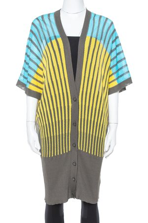 M Missoni Tri Color Striped Perforated Knit Button Front Cardigan M