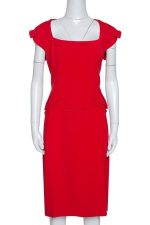 Elie saab Red Stretch Crepe Midi Dress M