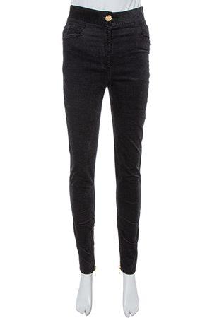 Balmain Black Velvet Tapered Jeans M