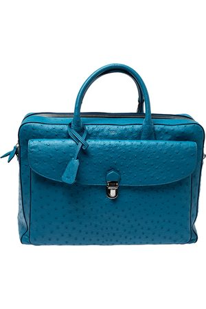 Tod's Blue Ostrich Classic Briefcase