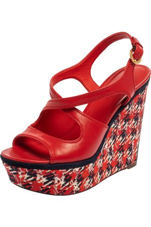 LOUIS VUITTON Red Leather And Multicolor Fabric Wedge Platform Slingback Sandals Size 39