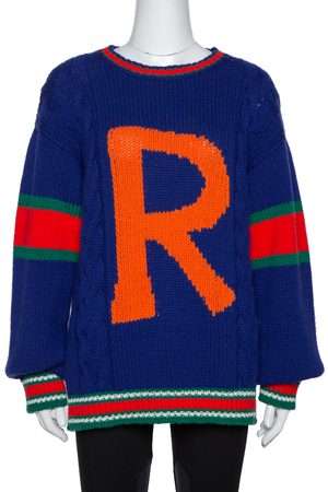 Gucci Blue Wool Cable Knit Letter 'R' DIY Unisex Sweater M