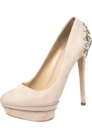 BRIAN ATWOOD Blush Pink Suede Crystal Embellished Platform Pumps Size 38.5