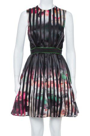 Elie saab Multicolor Printed Silk Panelled Sleeveless Flared Dress S