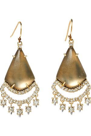 Alexis Bittar Gold Plated Crystal Lace Lucite Chandelier Earrings
